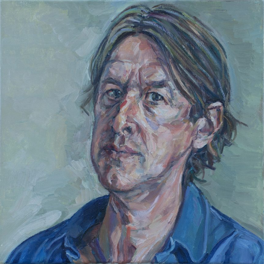 LOUIS MILLER | Self portrait in blue shirt | Oil on canvas | 35 x 35cm | WINNER 2010 | NFS